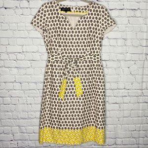 Jones New York gray yellow polka dot sheath dress